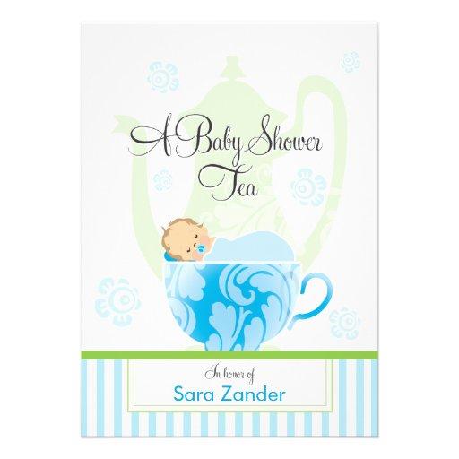 Um menino do tea party | do chá de fraldas convite personalizados