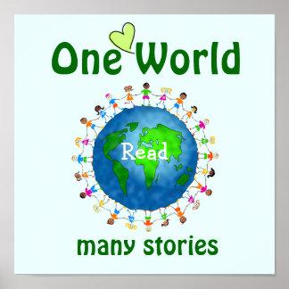 Um mundo poster da instrução de muitas histórias