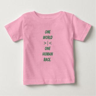 Um mundo, uma camisa da criança da raça humana