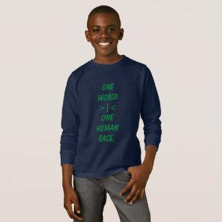 Um mundo, uma camisa do miúdo da raça humana