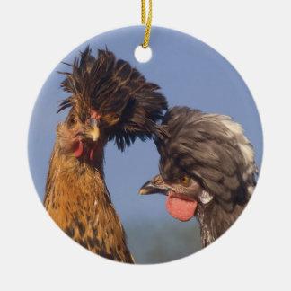 Um Natal polonês da galinha Ornamento De Cerâmica Redondo