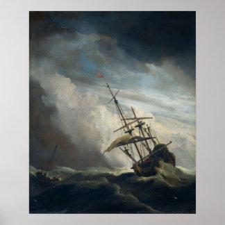 Um navio na necessidade em uma tempestade Raging Pôster