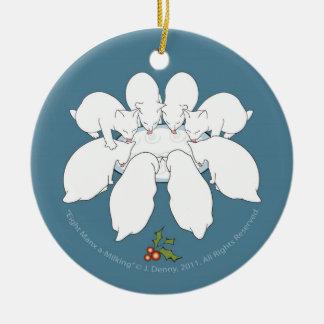 Um-Ordenha oito Manx… Árvore de Natal Ornamento De Cerâmica