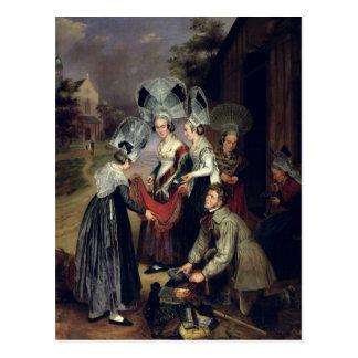 Um Peddler que vende Scarves às mulheres de Troyes Cartão Postal