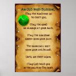 Um pergaminho irlandês velho da bênção impressão