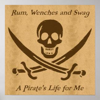 Um poster do pergaminho da vida dos piratas