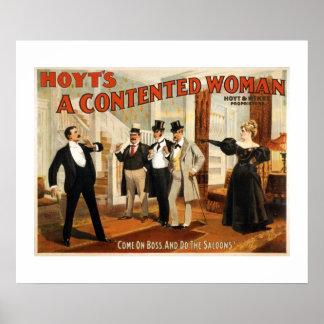Um poster satisfeito do teatro do vintage da mulhe