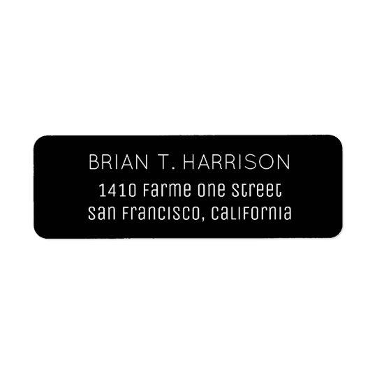 um preto simples etiqueta endereço de retorno