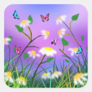 Um toque do primavera, etiquetas quadradas