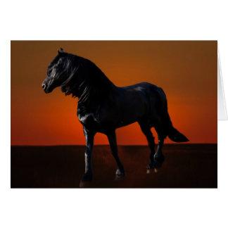 Um traquinagem do por do sol dos cavalos cartão comemorativo