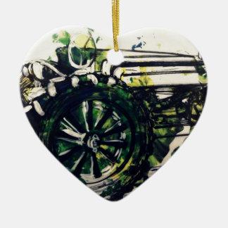 Um trator! ornamento de cerâmica coração