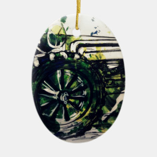 Um trator! ornamento de cerâmica oval