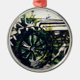 Um trator! ornamento redondo cor prata