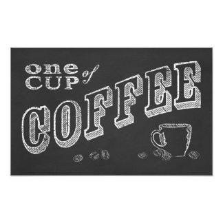 uma ARTE do GIZ da chávena de café Impressão De Foto