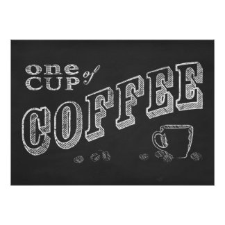 uma ARTE do GIZ da chávena de café Pôster