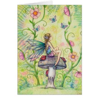 Uma arte feericamente da fantasia da flor feliz do cartão comemorativo