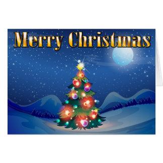 Uma árvore de Natal sparkling no meio do ni Cartão Comemorativo