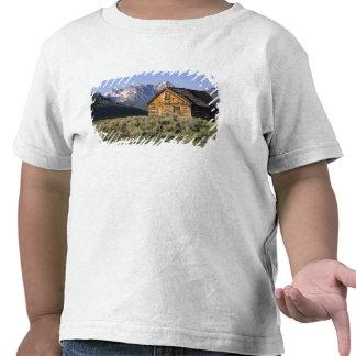 Uma cabana rústica de madeira e as montanhas do tshirt