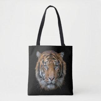 Uma cara dos animais selvagens do gato de tigre de bolsa tote