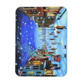 Uma cena da rua do inverno de Scrooge da canção de Ímã