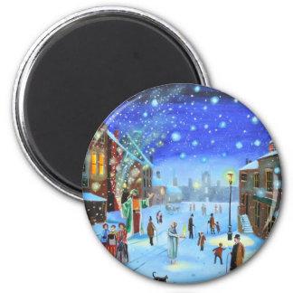 Uma cena da rua do inverno de Scrooge da canção de Imã