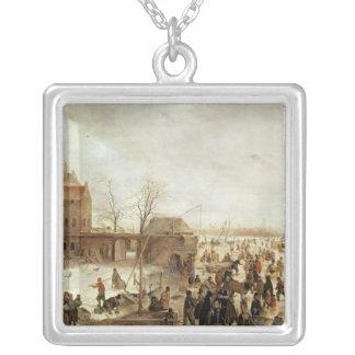 Uma cena no gelo perto de uma cidade, c.1615 bijuteria personalizada