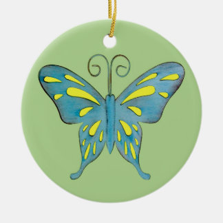 Uma cerceta bonito e uma borboleta amarela no ornamento de cerâmica redondo
