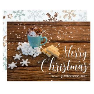 Uma chávena de café & uns cartões de foto de Natal Convite 12.7 X 17.78cm