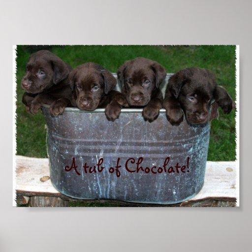 Uma cuba de imagem do chocolate impressão