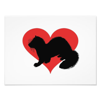 Uma doninha com um coração vermelho enorme impressão de foto