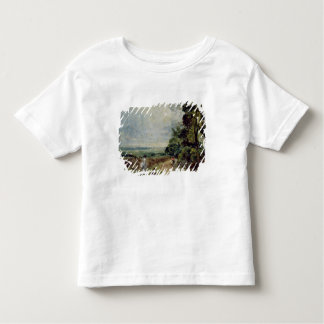 Uma estrada secundária com árvores e figuras camiseta infantil
