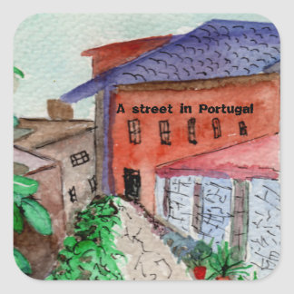 Uma etiqueta watercolored de uma rua em Portugal