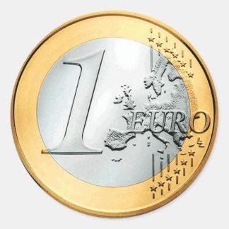 Uma euro- moeda (bloco de 6/20) adesivo redondo