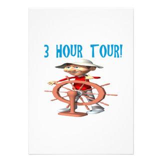 Uma excursão de três horas convites personalizados