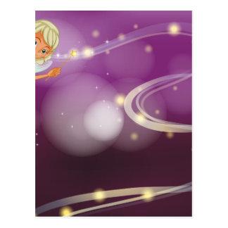 Uma fada que guardara uma varinha sparkling cartão postal
