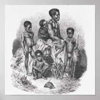 Uma família do tribo Zulu da história da humanidad Poster