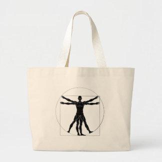 Uma figura gosta do homem ana de Leonard da Vinci Bolsa Tote Grande