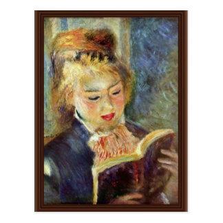 Uma leitura da menina por Pierre-Auguste Renoir Cartão Postal
