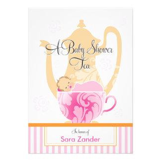 Uma menina do tea party | do chá de fraldas convites personalizado