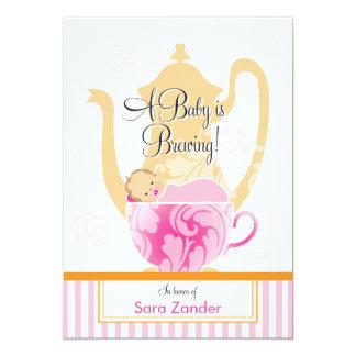 Uma menina do tea party | do chá de fraldas convites personalizados