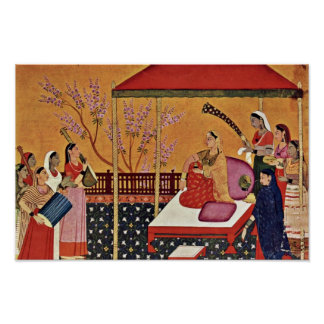 Uma mulher escuta a música por Indischer Maler Um Pôster