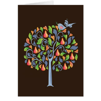 Uma perdiz em um cartão de Natal da árvore de pera