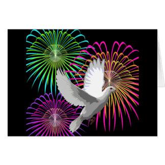 Uma pomba e fogos-de-artifício do branco cartões