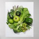 Uma seleção de frutas & de vegetais verdes impressão