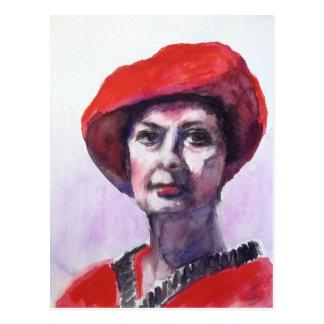 Uma senhora no vermelho cartão postal