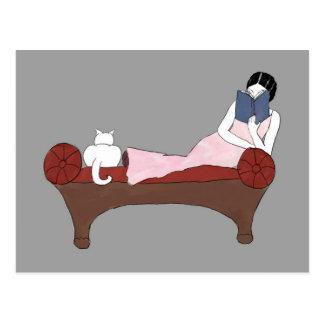 Uma senhora, um gato e cartão muito bom do livro