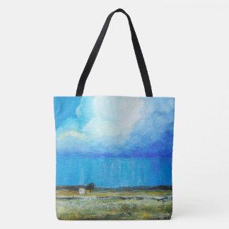 Uma tempestade perfeita, pintura de paisagem da bolsa tote