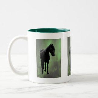 Uma tranquilidade dos cavalos caneca