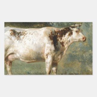 Uma vaca em uma paisagem por Troyon constante Adesivo Retangular