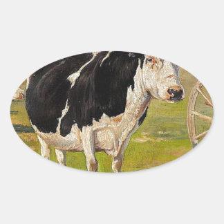 Uma vaca preto e branco por Theodor Philipsen Adesivo Oval